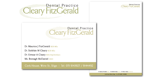 Cleary FitGerald Dental Practice | Logo | Business Card | Letterhead
