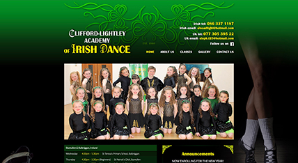 Clifford Lightley Irish Dance website design