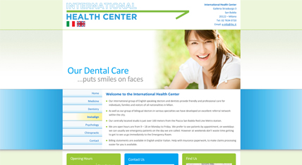 The International Health Center website design