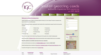 Inisfail Greeting Cards website design